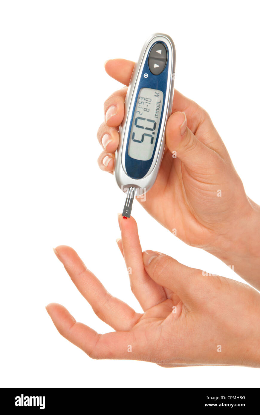 Diabetes patient measuring glucose level blood test - Stock Image