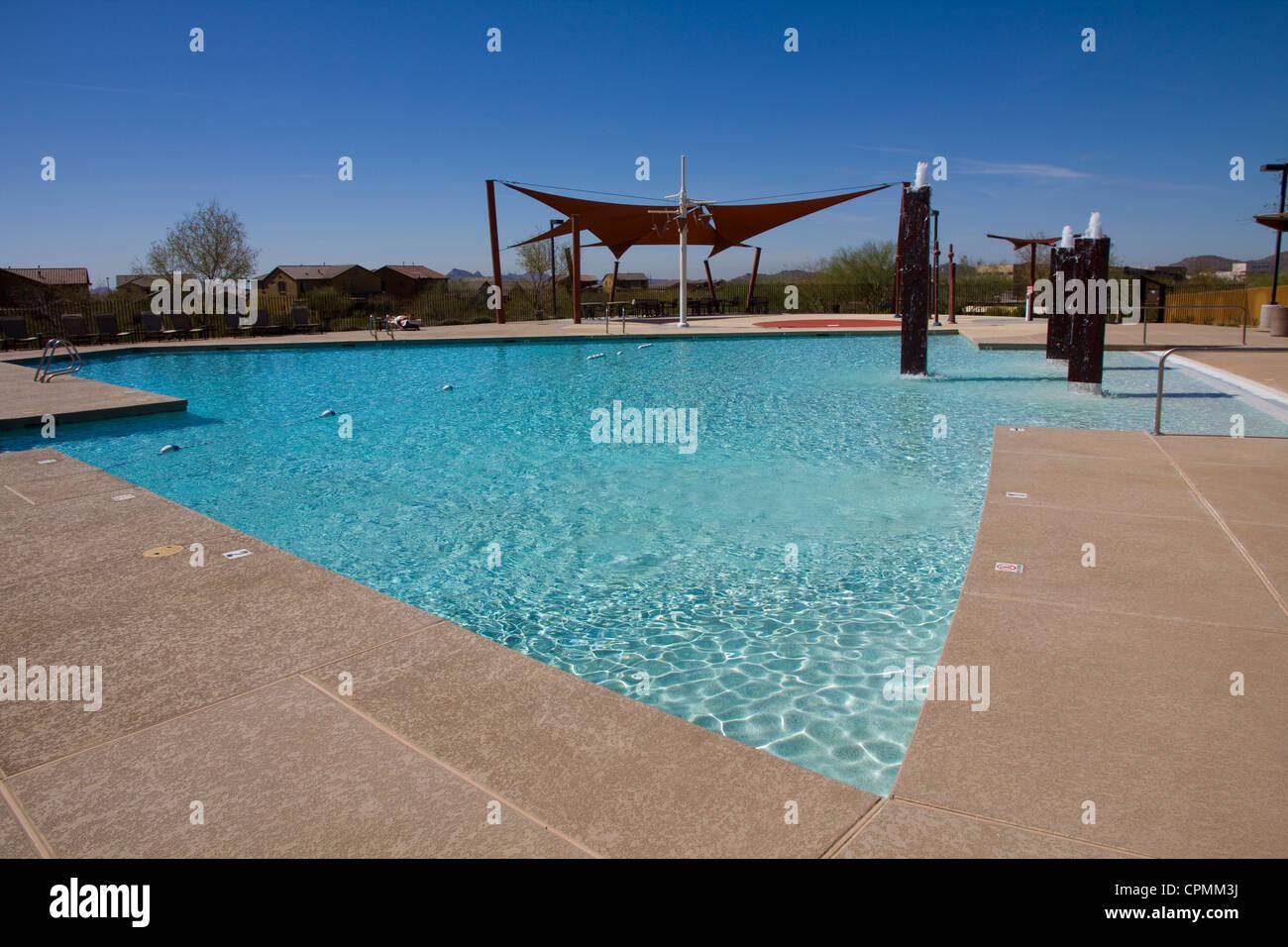 Pool area at Fireside at Desert Ridge, N. Scottsdale, AZ, USA. - Stock Image