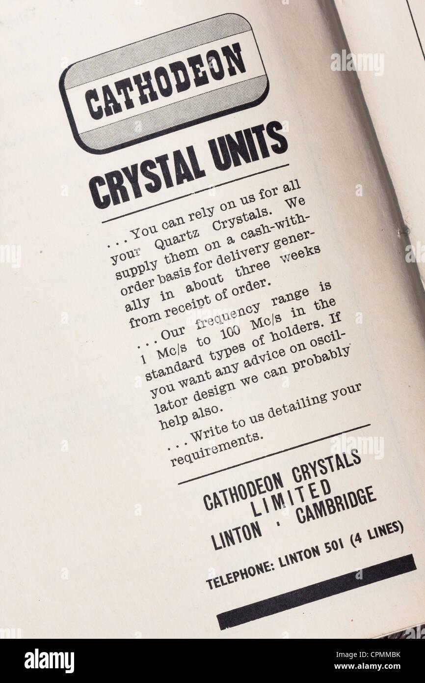 1960's advert for Quartz crystals UK - Stock Image