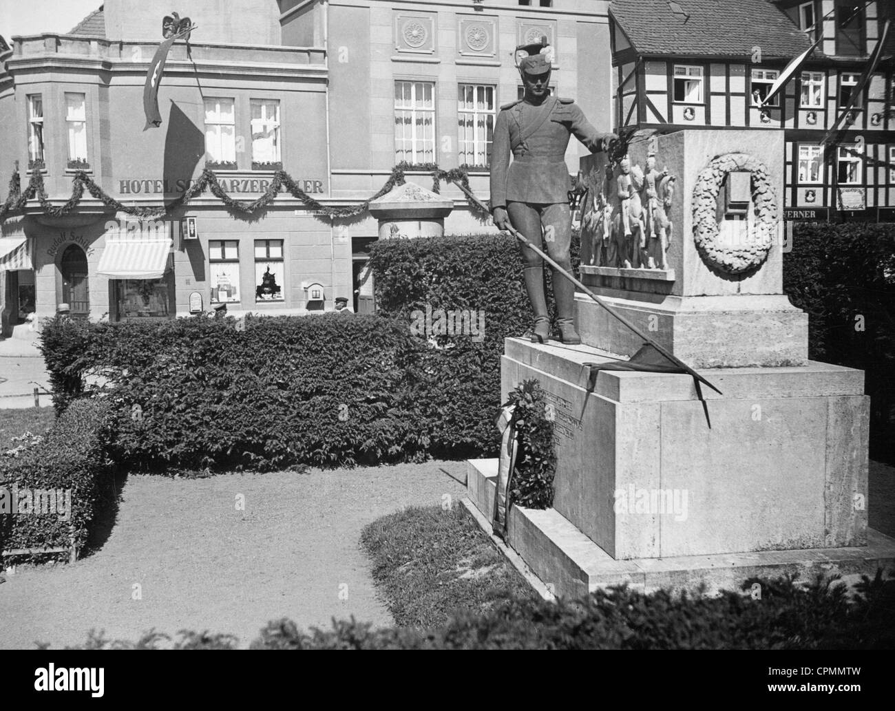 Uhlan memorial in the hanseatic town Salzwedel, 1933 - Stock Image