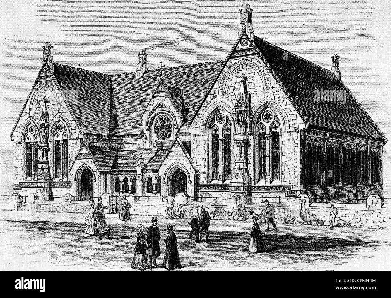 ST MARY'S PARISH SCHOOL, LEICESTER, 1869 - Stock Image