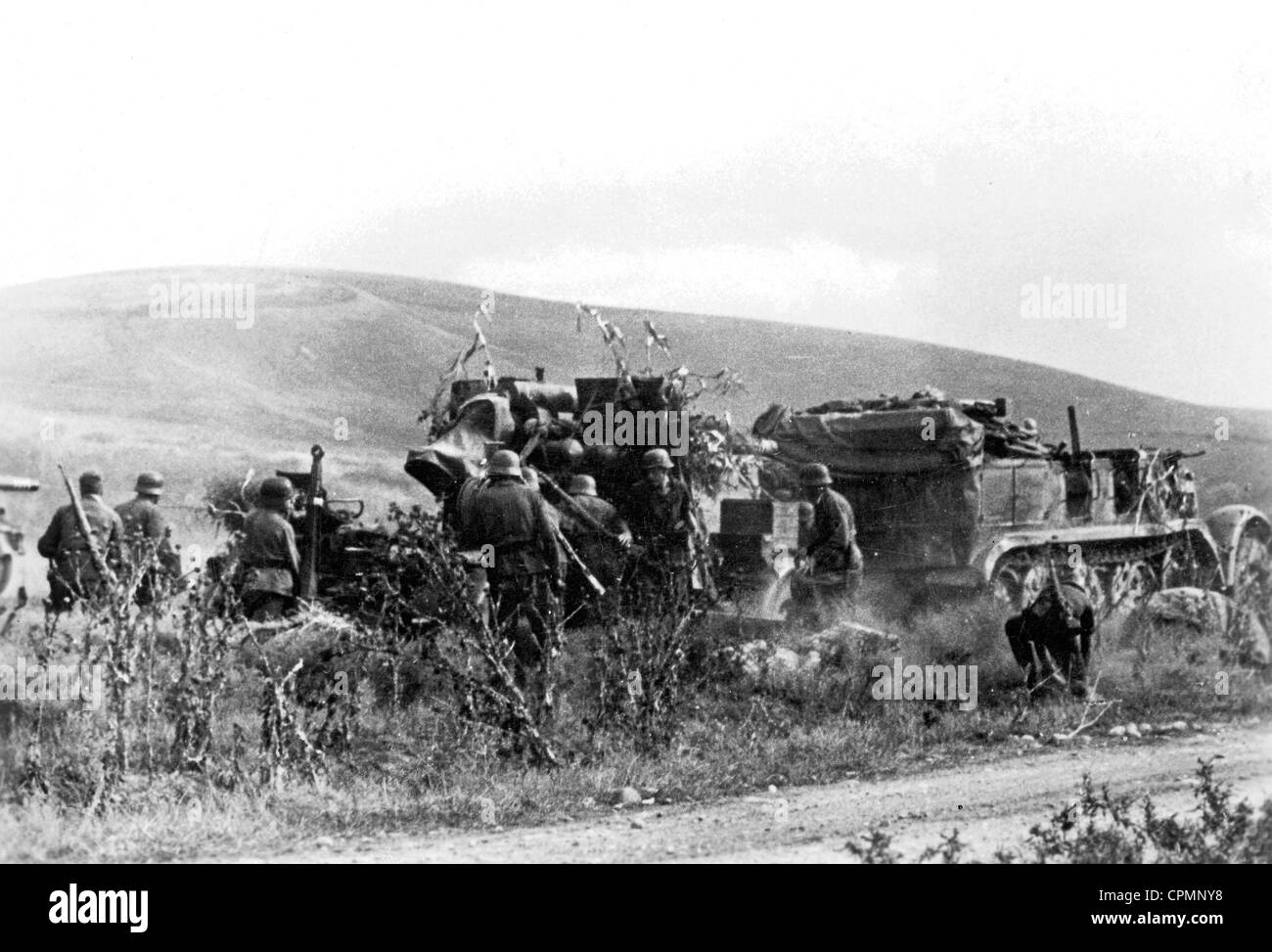 German 8.8cm Flak 36 on the Eastern Front, 1942 - Stock Image