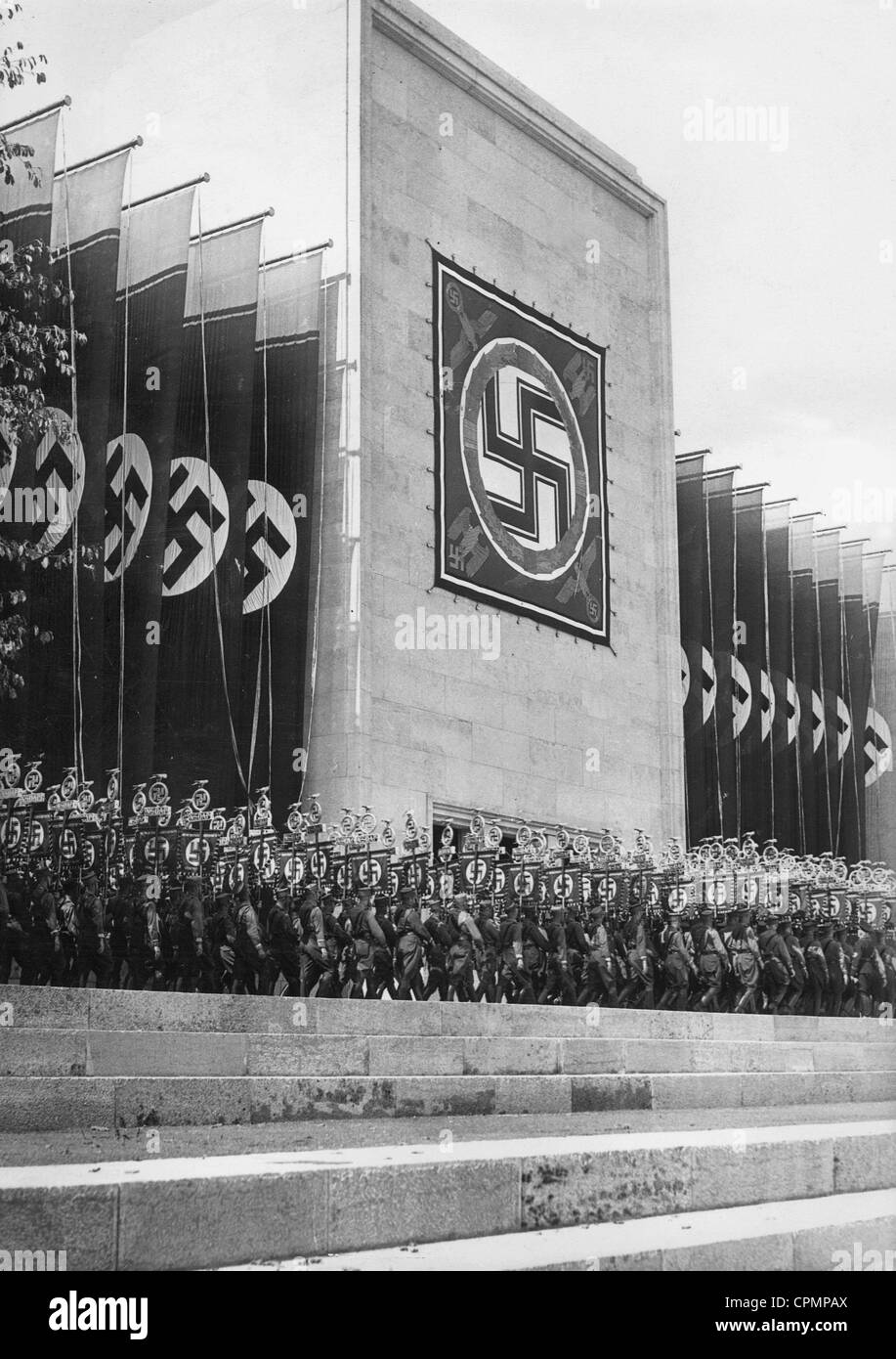 Façade of the Luitpold Hall during the Nuremberg Rally, 1937 - Stock Image