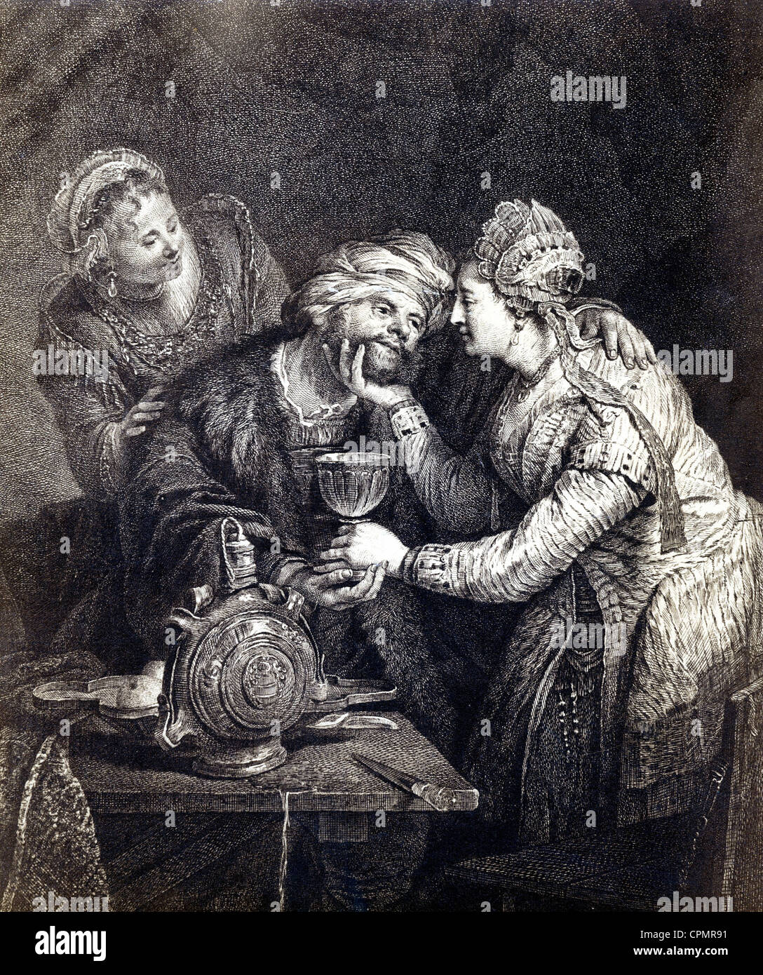 'Lot and his daughters', etching by G.F. Schmidt, after a painting by Rembrandt - Stock Image