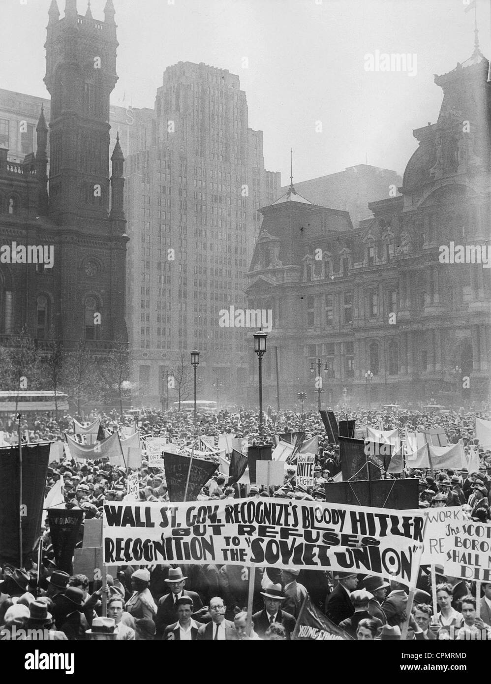 May Day demonstration of the Communists in Philadelphia, 1933 - Stock Image