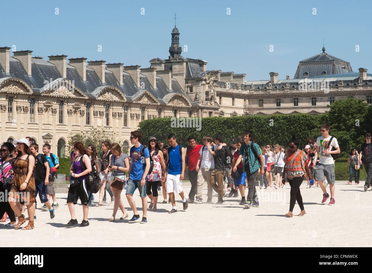 Paris, France -  Schoolchildren during school trip in the Louvre Museum area. - Stock Image