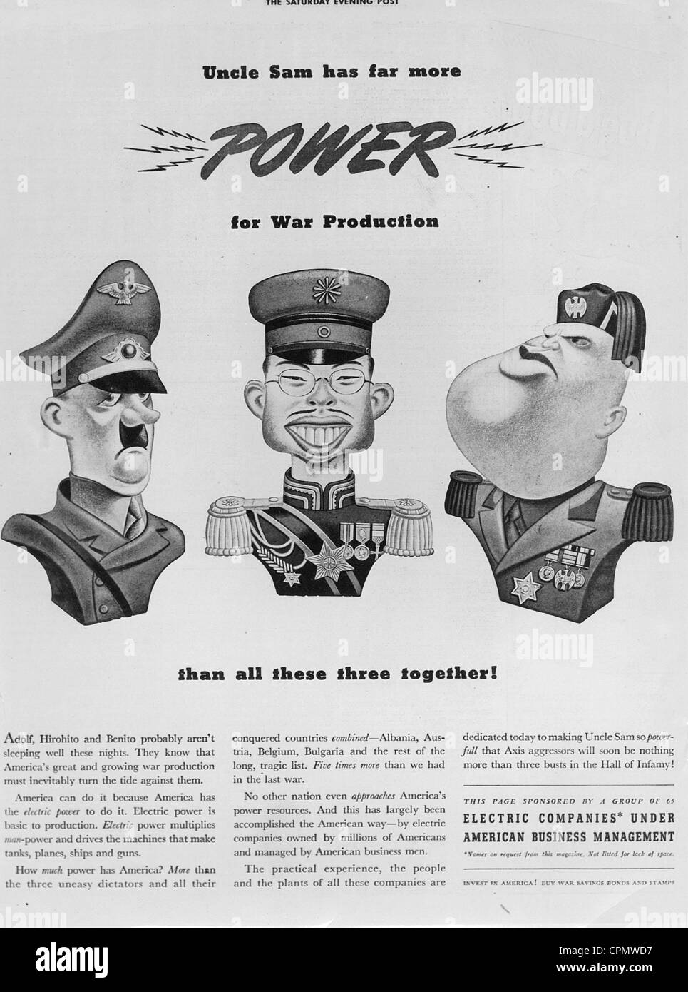Caricatures of Hitler, Hirohito and Mussolini, 1942 - Stock Image