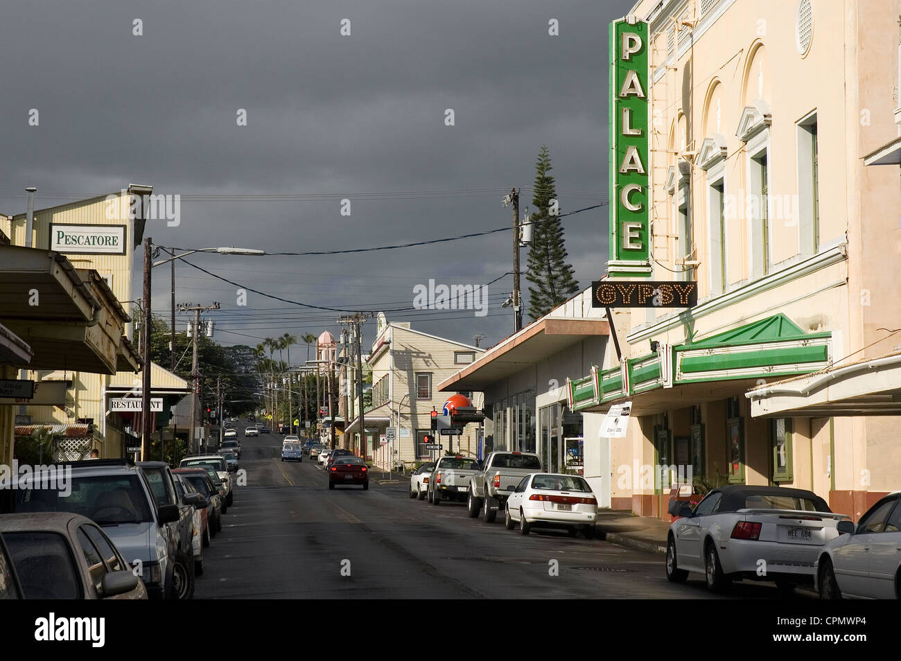 Elk284-2026 Hawaii, HI, Hilo, downtown street scene with Palace Theater Stock Photo