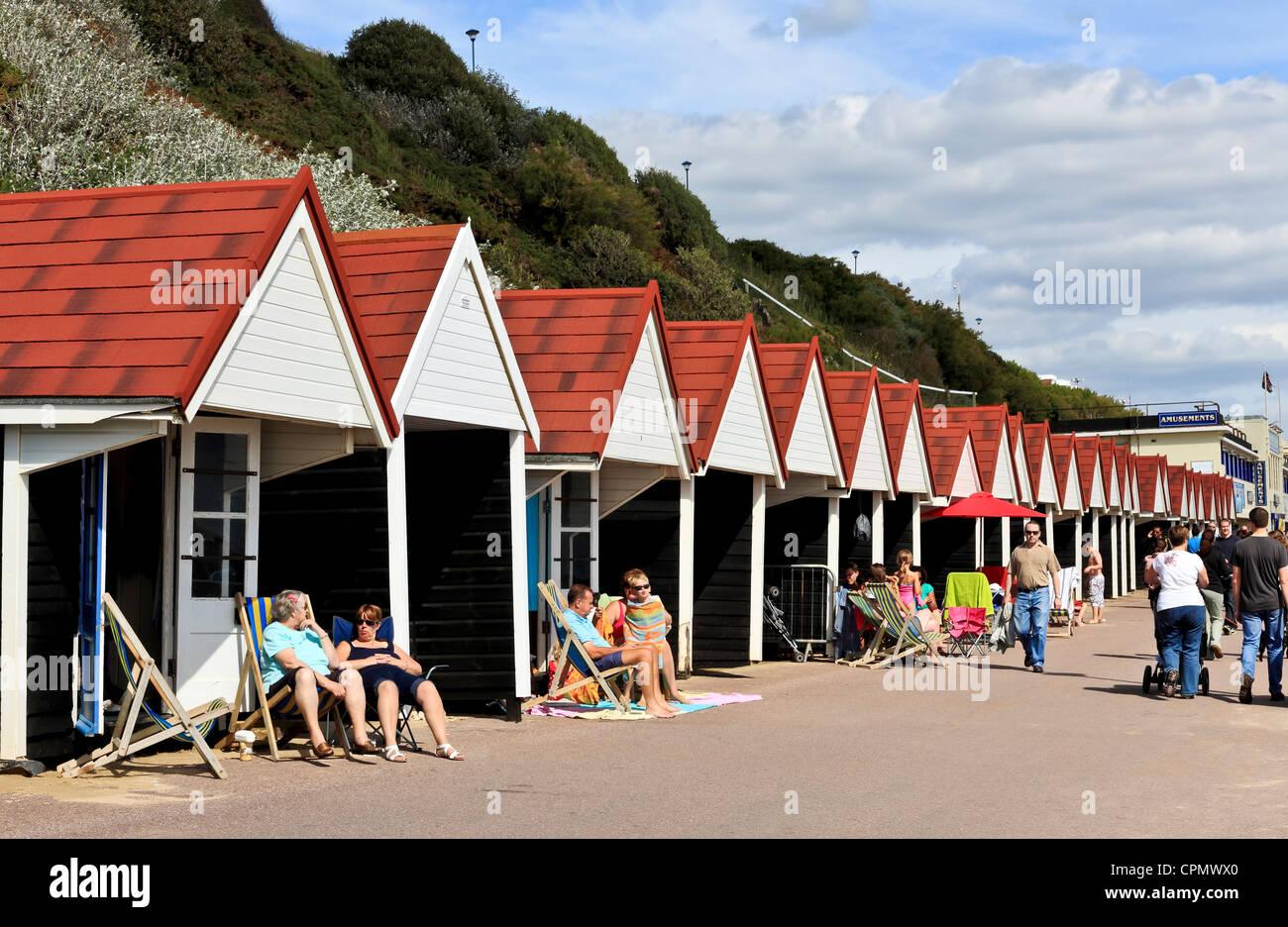 3958. Beach Huts on Promenade, Bournemouth, Dorset, UK - Stock Image