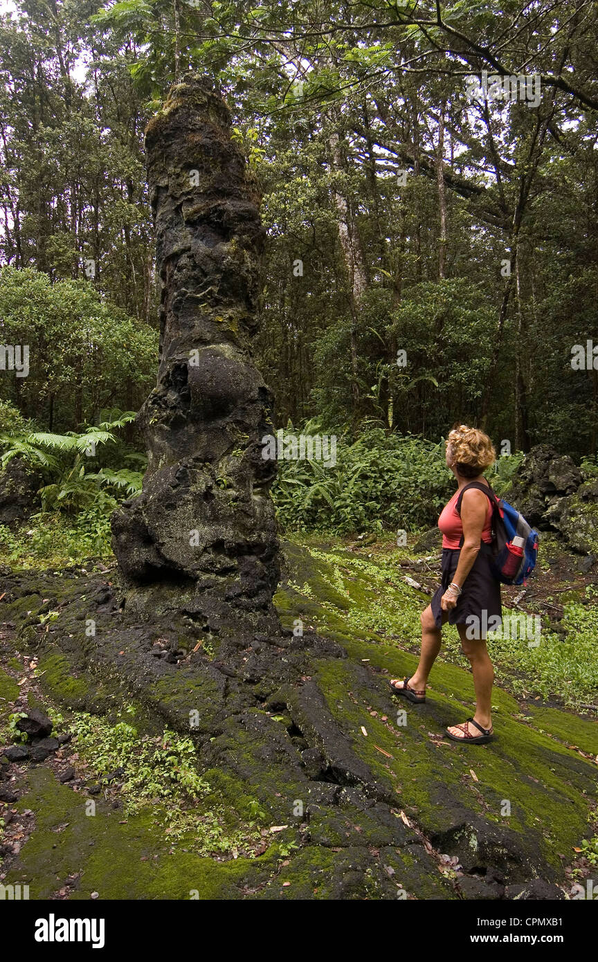 Elk284-2204v Hawaii, HI, Puna District, Lava Tree SM, woman (model released) looking at lava tree mold - Stock Image