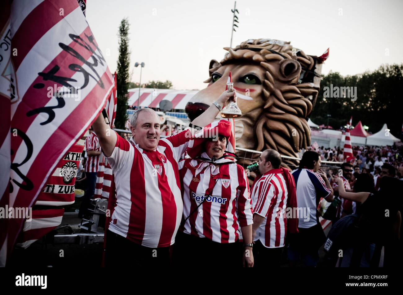 Athletic Bilbao fans in Madrid before Copa del Rey 2012 Final against FC Barcelona. - Stock Image