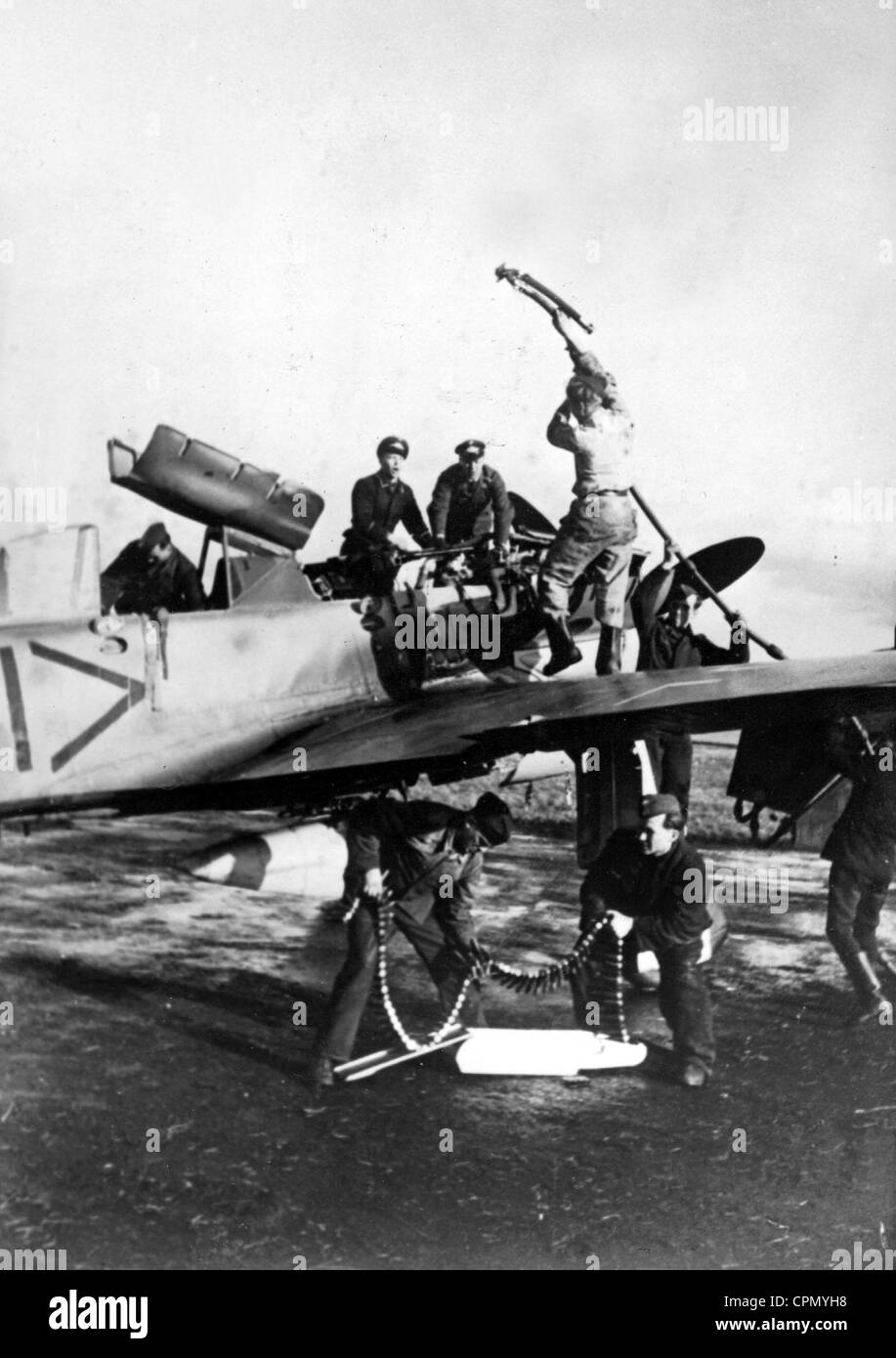 A Fighter Plane is Being Prepared for an Operation, 1944 - Stock Image