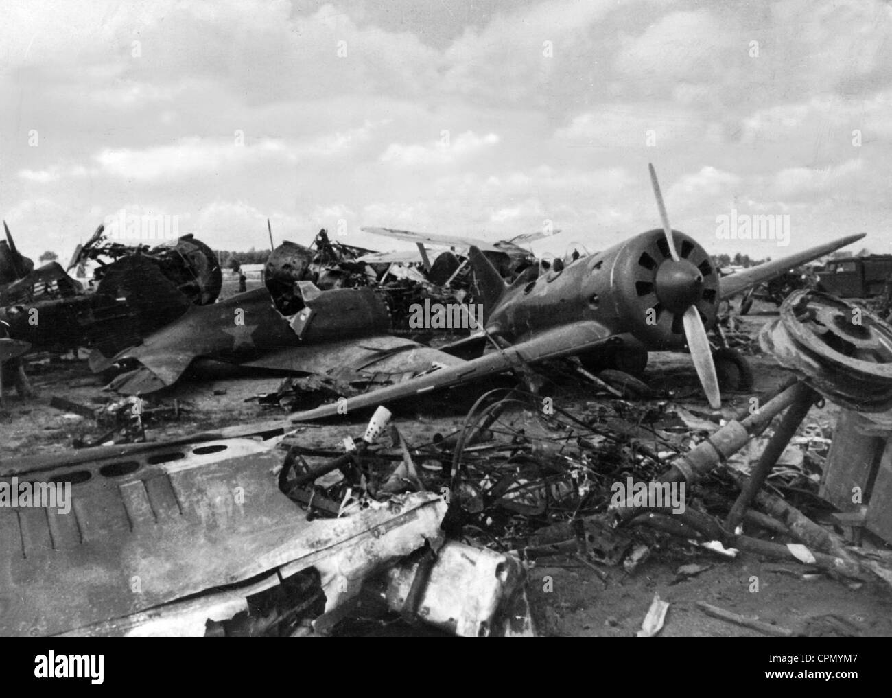Destroyed Soviet Fighter Planes at the Beginning of the Russian Campaign, 1941 - Stock Image