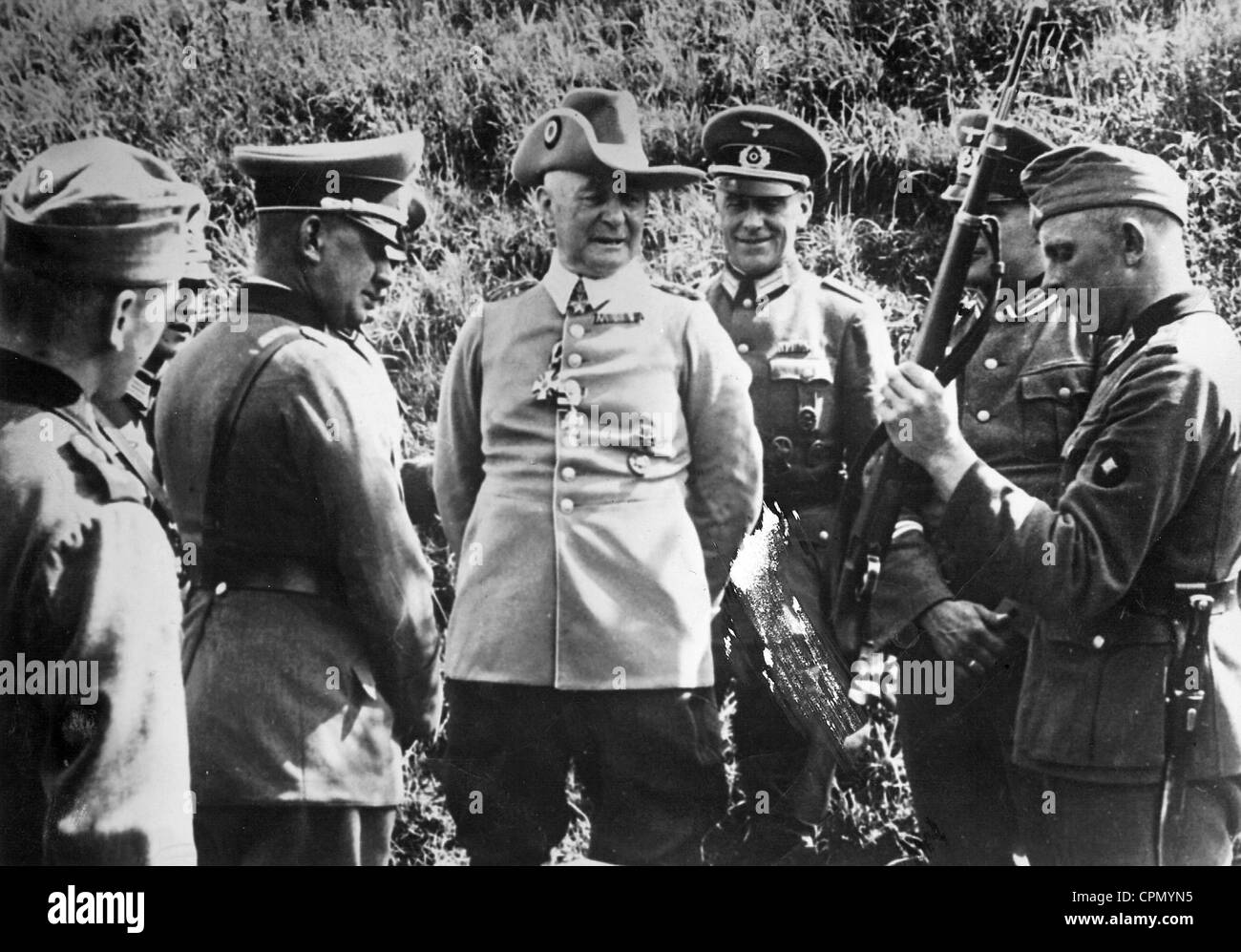 Paul von Lettow-Vorbeck at a unit of the Wehrmacht, 1939 - Stock Image