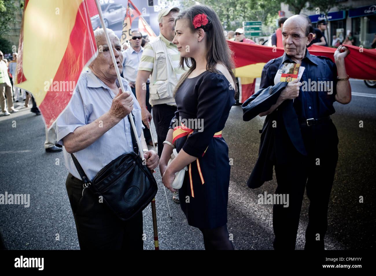 Extreme right demonstration in Madrid, Spain, organized by La Falange, el Nudo Patriota Español, el Movimiento - Stock Image