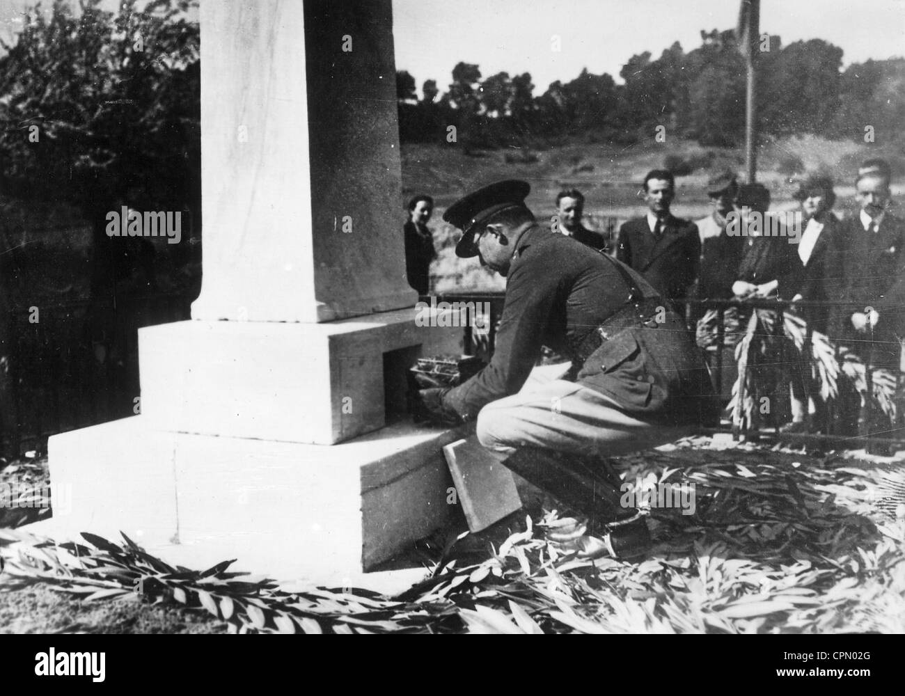 Crown Prince Paul of Greece lays to rest the heart of Pierre de Coubertin, 1938 Stock Photo