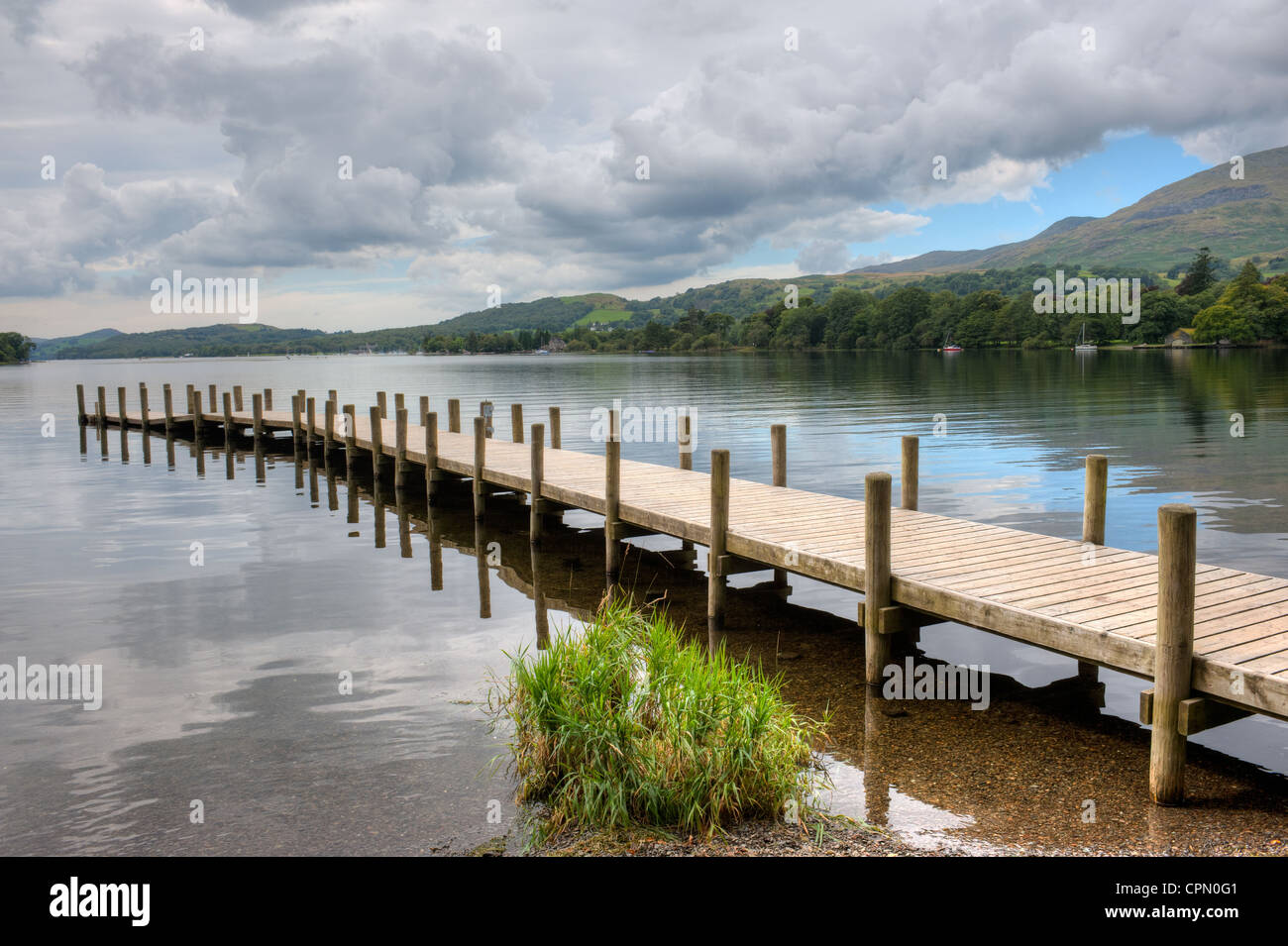 Pier on Coniston Water in Ambleside The Lake District, Cumbria where Malcom Campbell attempted the water speed record - Stock Image