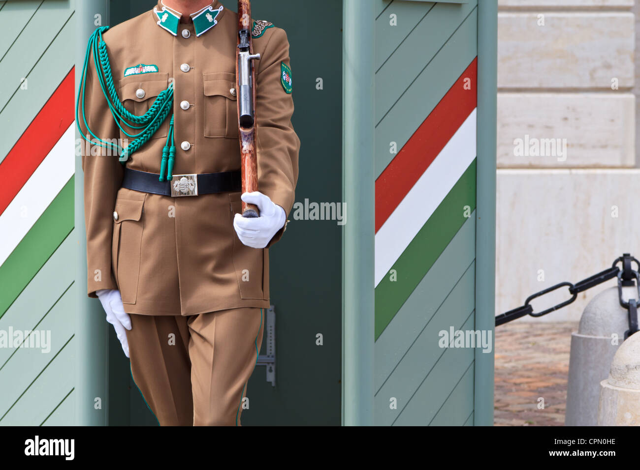 A hungarian soldier on guard in front of a public building in Budapest - Stock Image