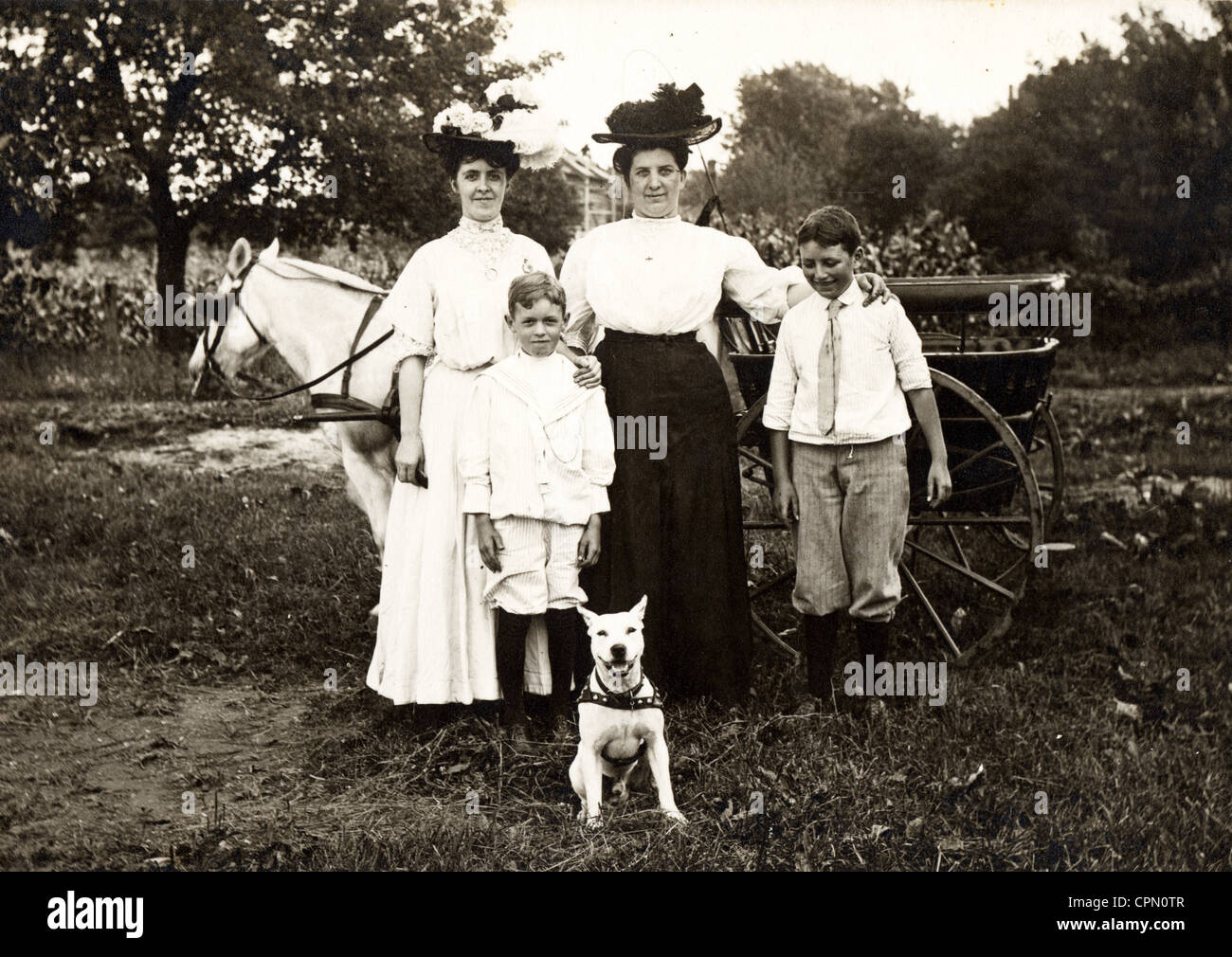 Family of Four Guarded by Pitbull Dog - Stock Image