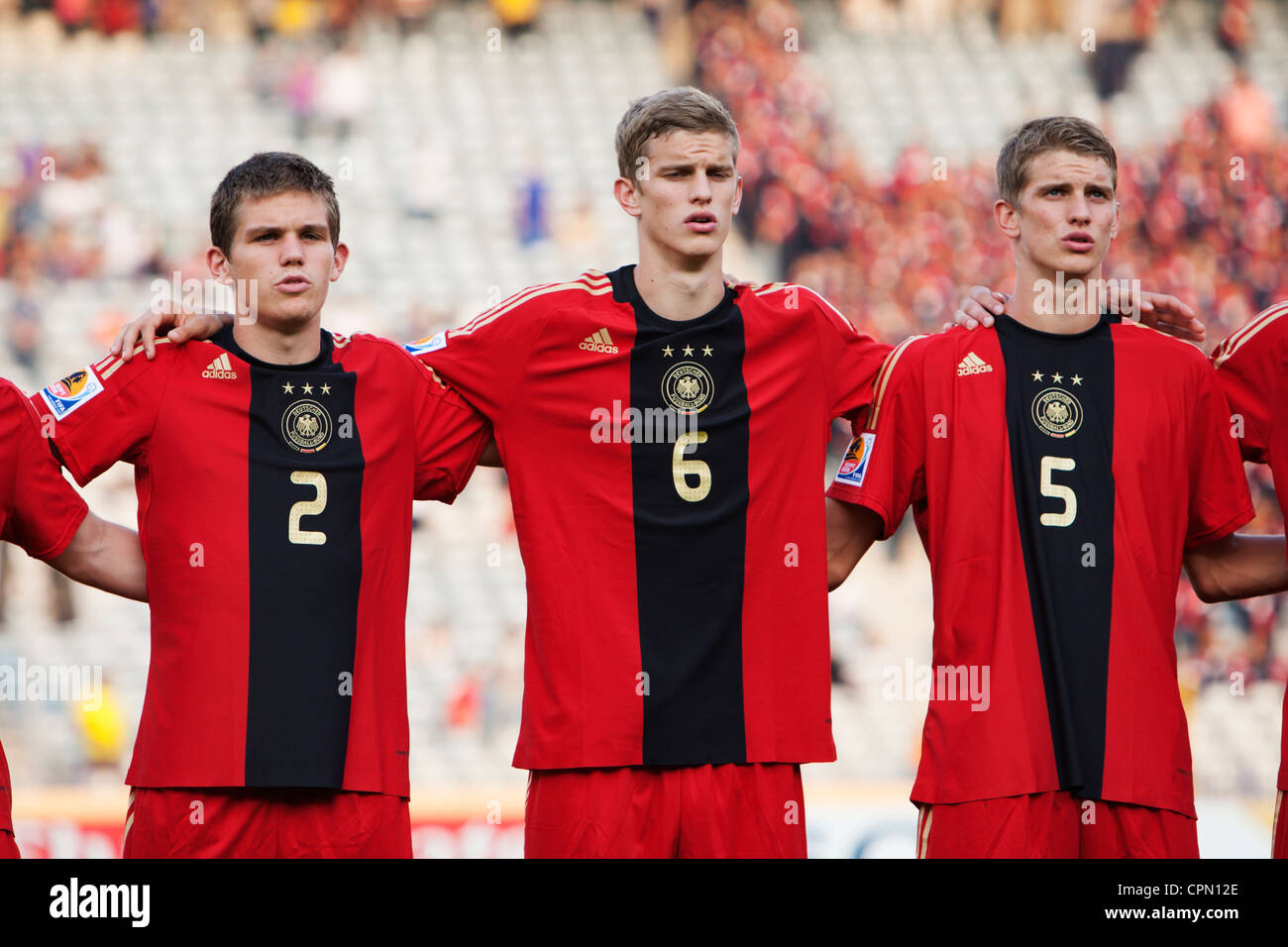 Germany players line up and sing the national anthem before the 2009 FIFA U20 World Cup soccer quarterfinal match - Stock Image
