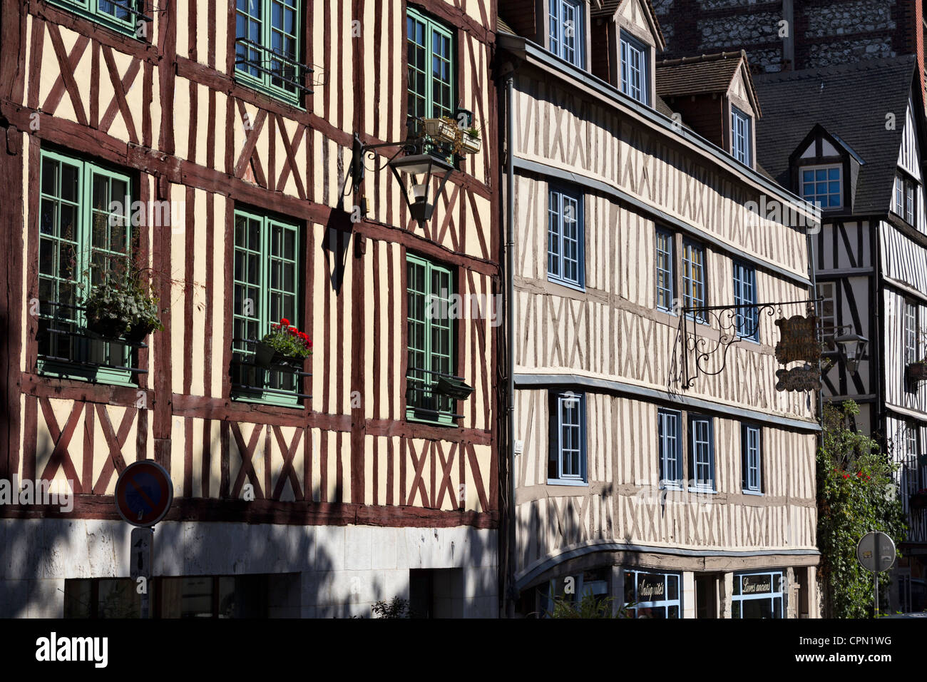 Half-timbered houses in Rouen, France - Stock Image