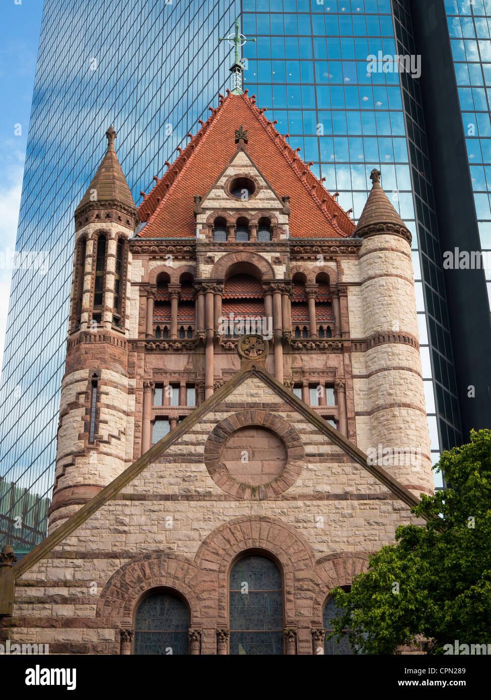 Trinity Church in the City of Boston Stock Photo