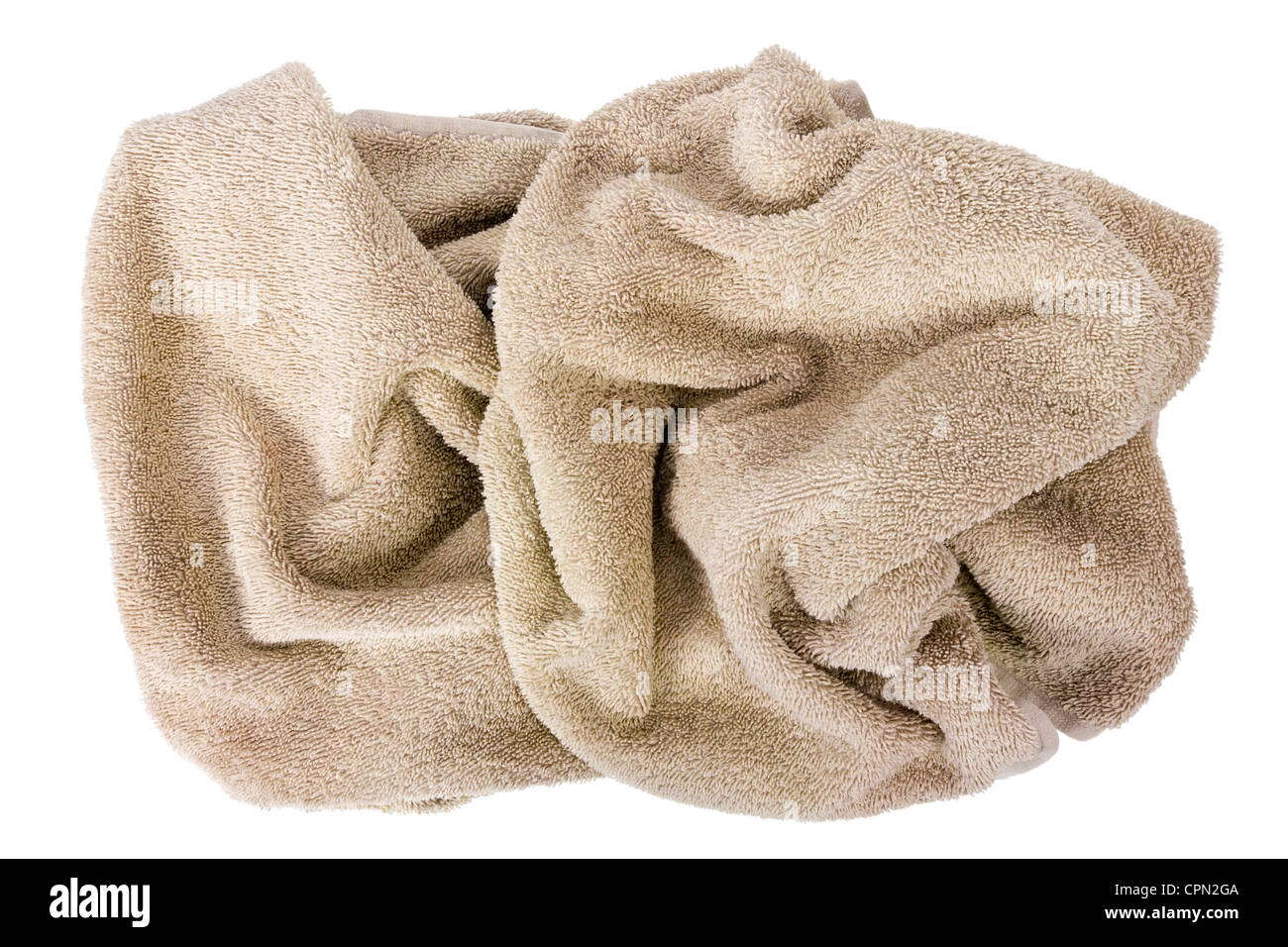 Abstract sculpture made of mass production terry towels beige. Isolated - Stock Image