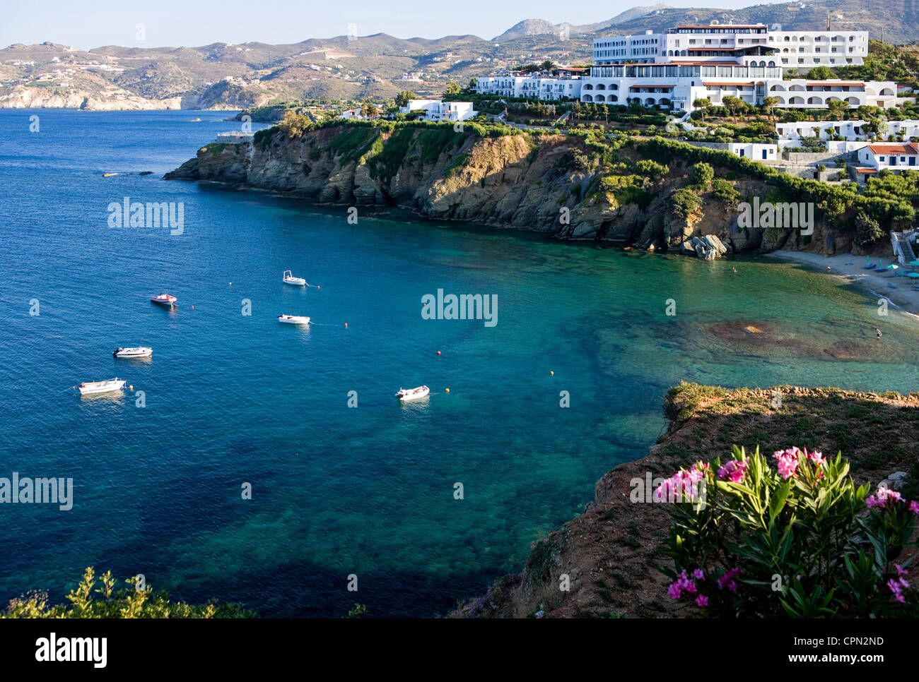 Europe Greece, Crete, tourist facilities in the Agia Pelagia bay. - Stock Image