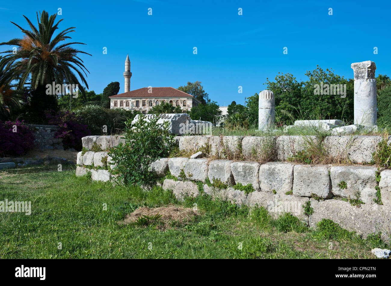 Europe Greece, Dodecanese, Kos, the archeological site of the Harbour Quarter - Stock Image