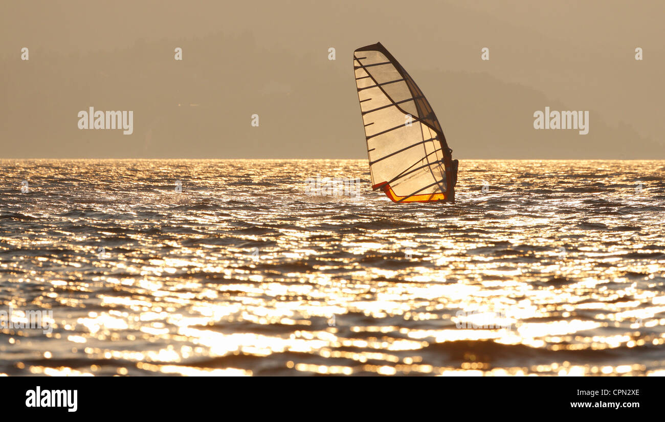 Windsurfing at sunset - Stock Image