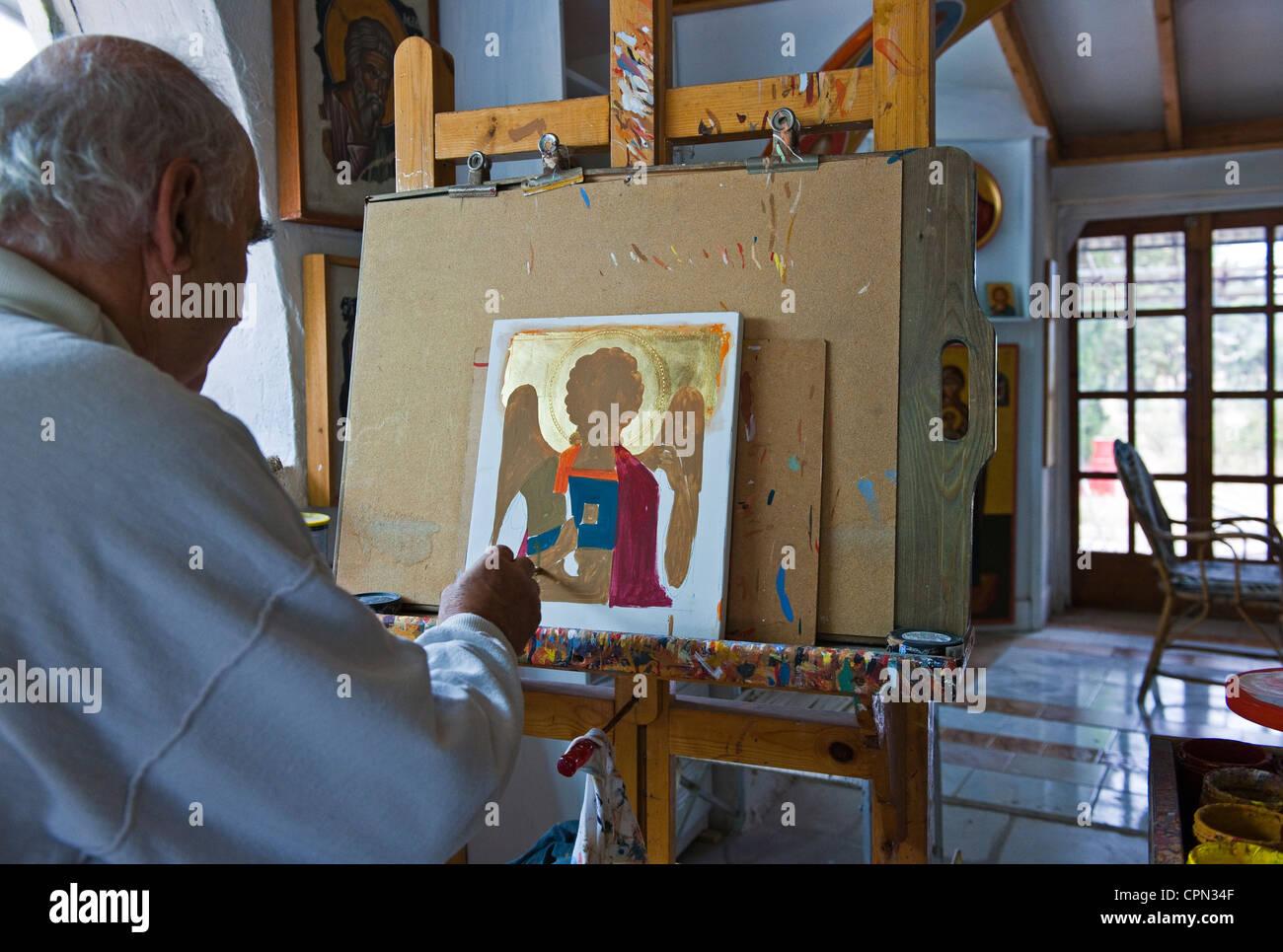 Europe Greece, Dodecanese, Kos, the workshop of Mr.Katapodis icon painter - Stock Image