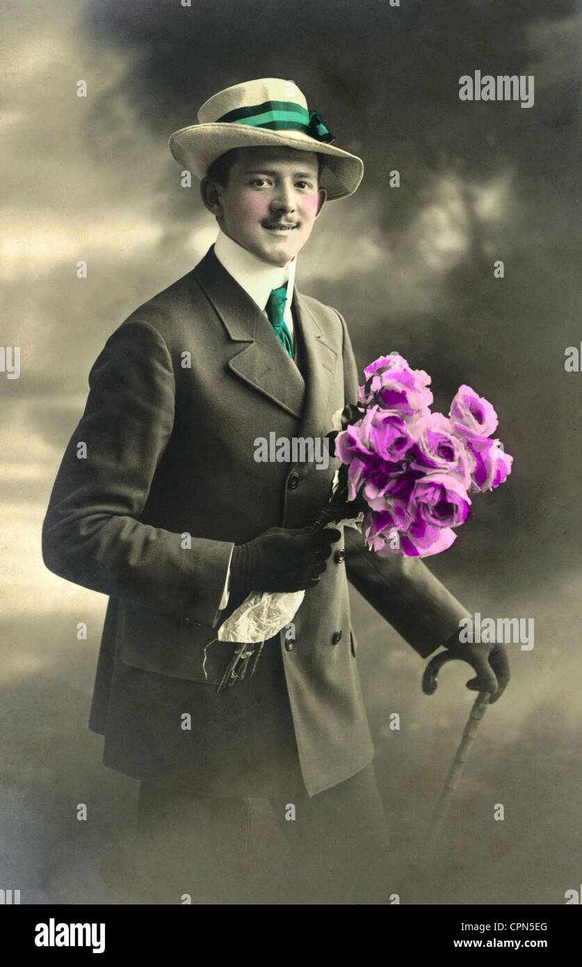 people, men, squire with flower bouquet, Germany, 1911, Additional-Rights-Clearences-NA - Stock Image