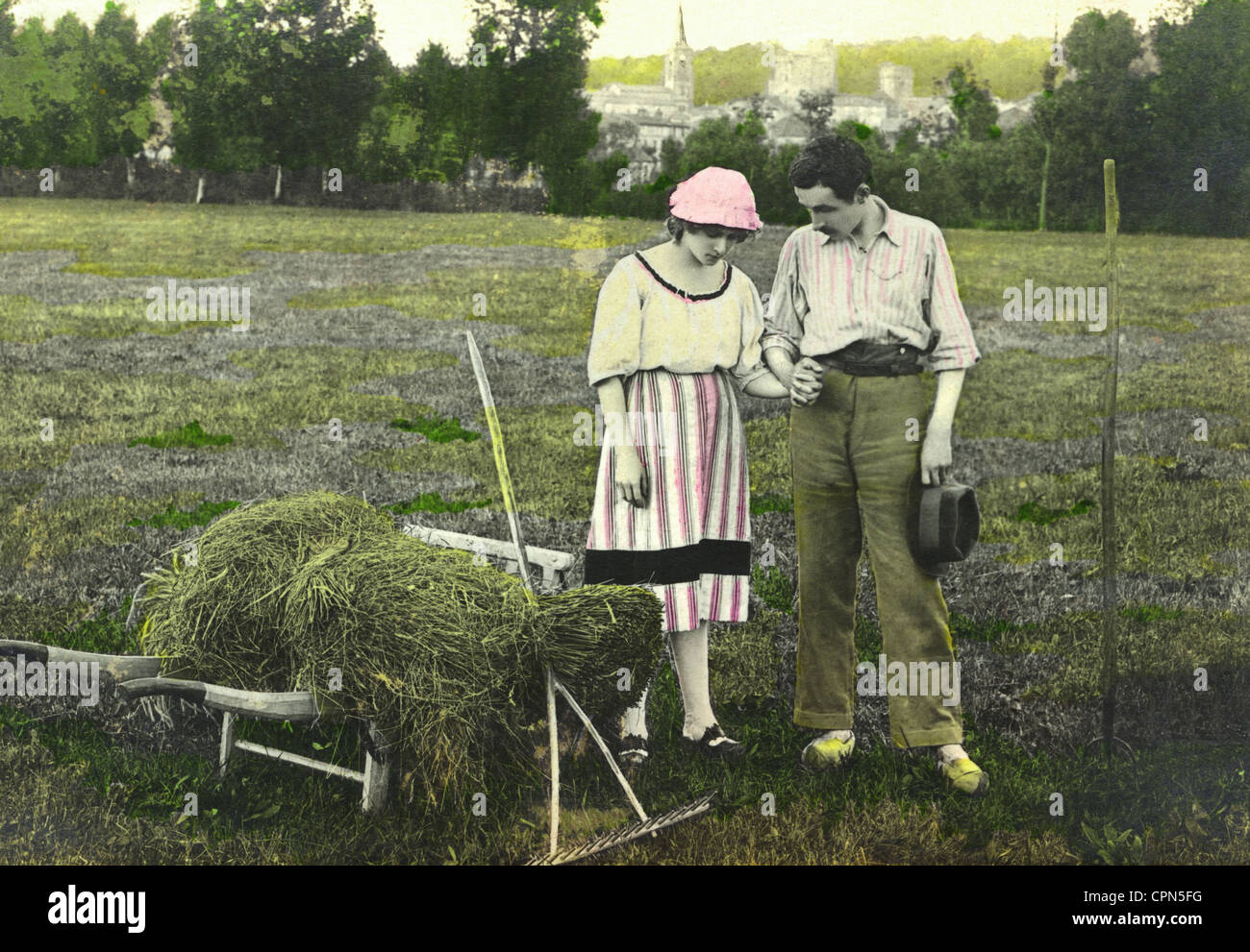agriculture, agriculture crisis, farmer with his woman on the field, Germany, circa 1924, Additional-Rights-Clearences-Not Available Stock Photo