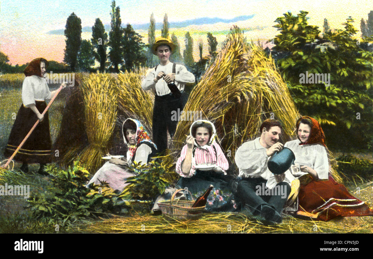 agriculture, agriculture, grain harvest, resting agricultural labourer, Germany, 1912, Additional-Rights-Clearences - Stock Image