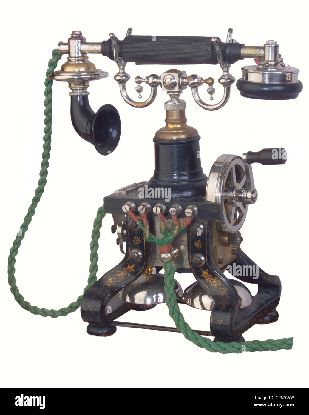 technology, telephone, first desk telephone with separate receiver, build since 1892, company LM Ericsson, Stockholm, - Stock Image