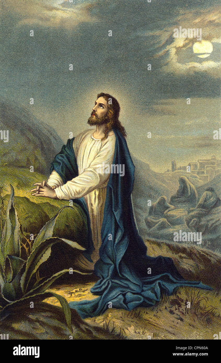 religion, Christianity, Jesus Christ, on the Mount of Olives, Gethsemane, night before the crucifixion, prayer to - Stock Image