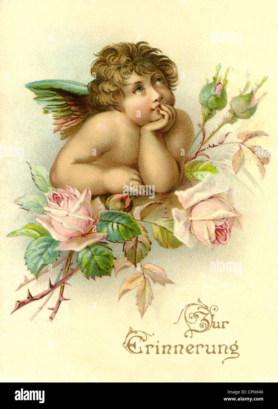 kitsch, angel with rose branch, 'Zur Erinnerung' (memento), Germany, 1880, Additional-Rights-Clearences - Stock Image