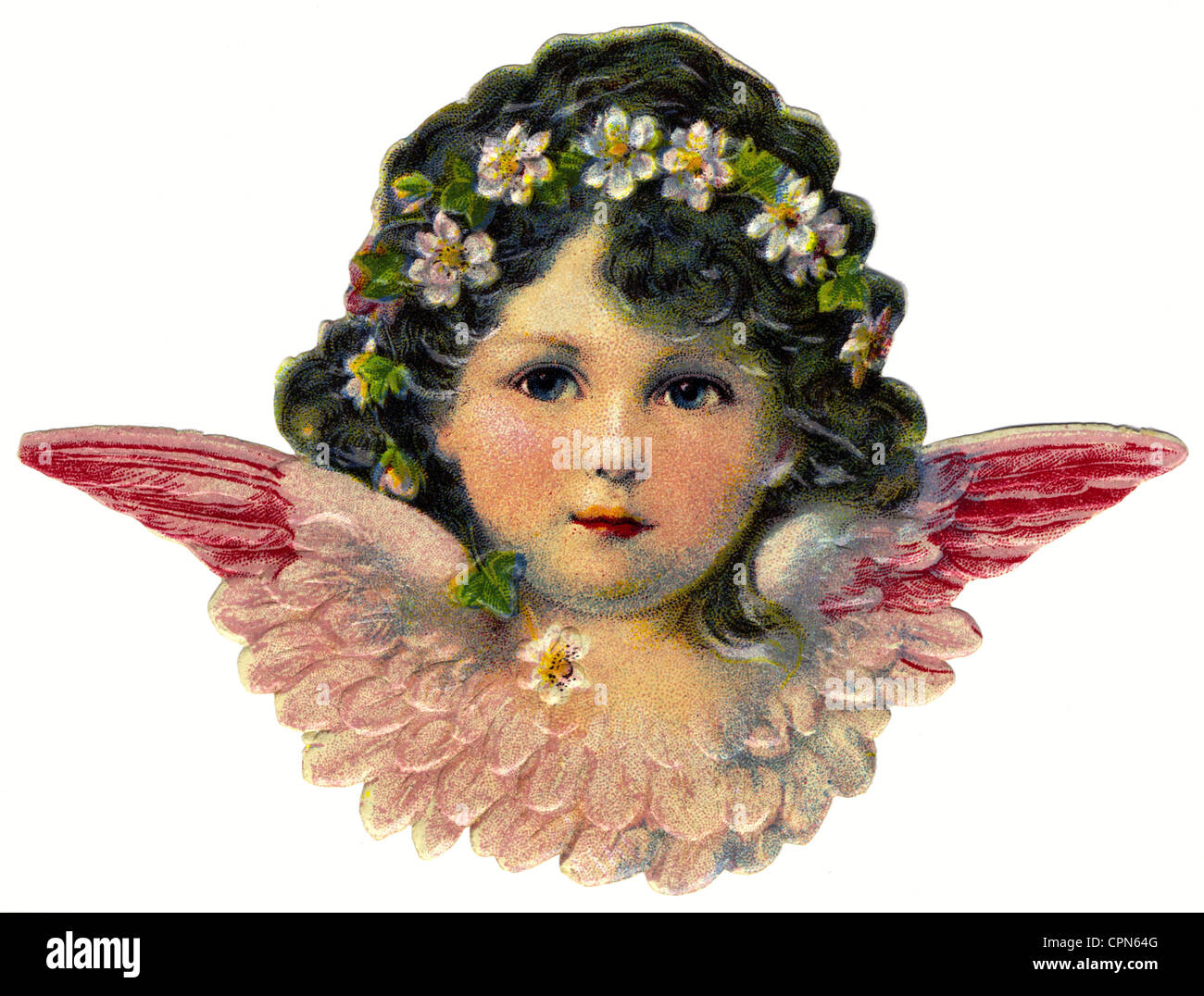 kitsch, little angel with blossom in hair, scrap-picture, lithograph, Germany, circa 1910, Additional-Rights-Clearences - Stock Image
