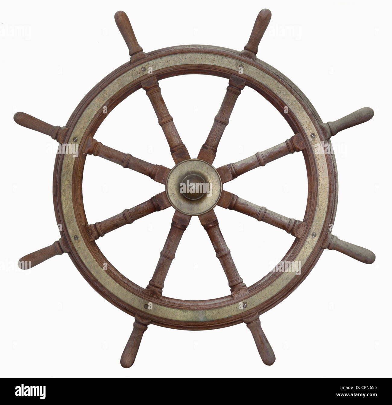 transport, navigation, steering wheel, of an Hamburg ship, Germany, circa 1900, Additional-Rights-Clearences-NA - Stock Image