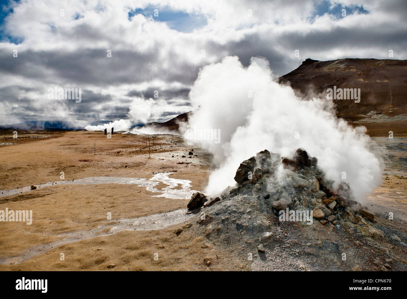Iceland, Namafjall, fumarole releasing steam and sulfur gas - Stock Image