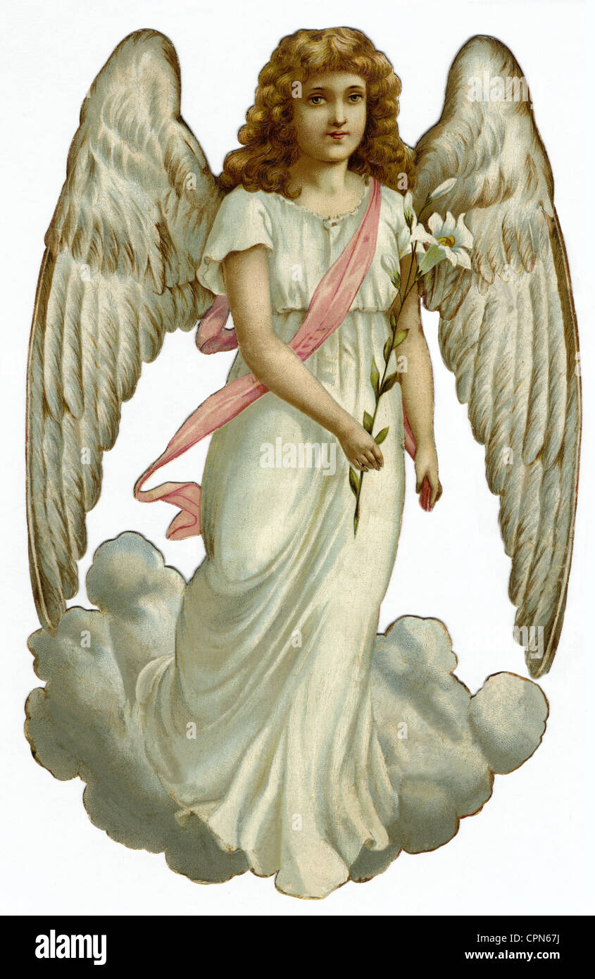 kitsch, angel, scrap-picture, lithograph, Germany, circa 1898, Additional-Rights-Clearences-NA Stock Photo