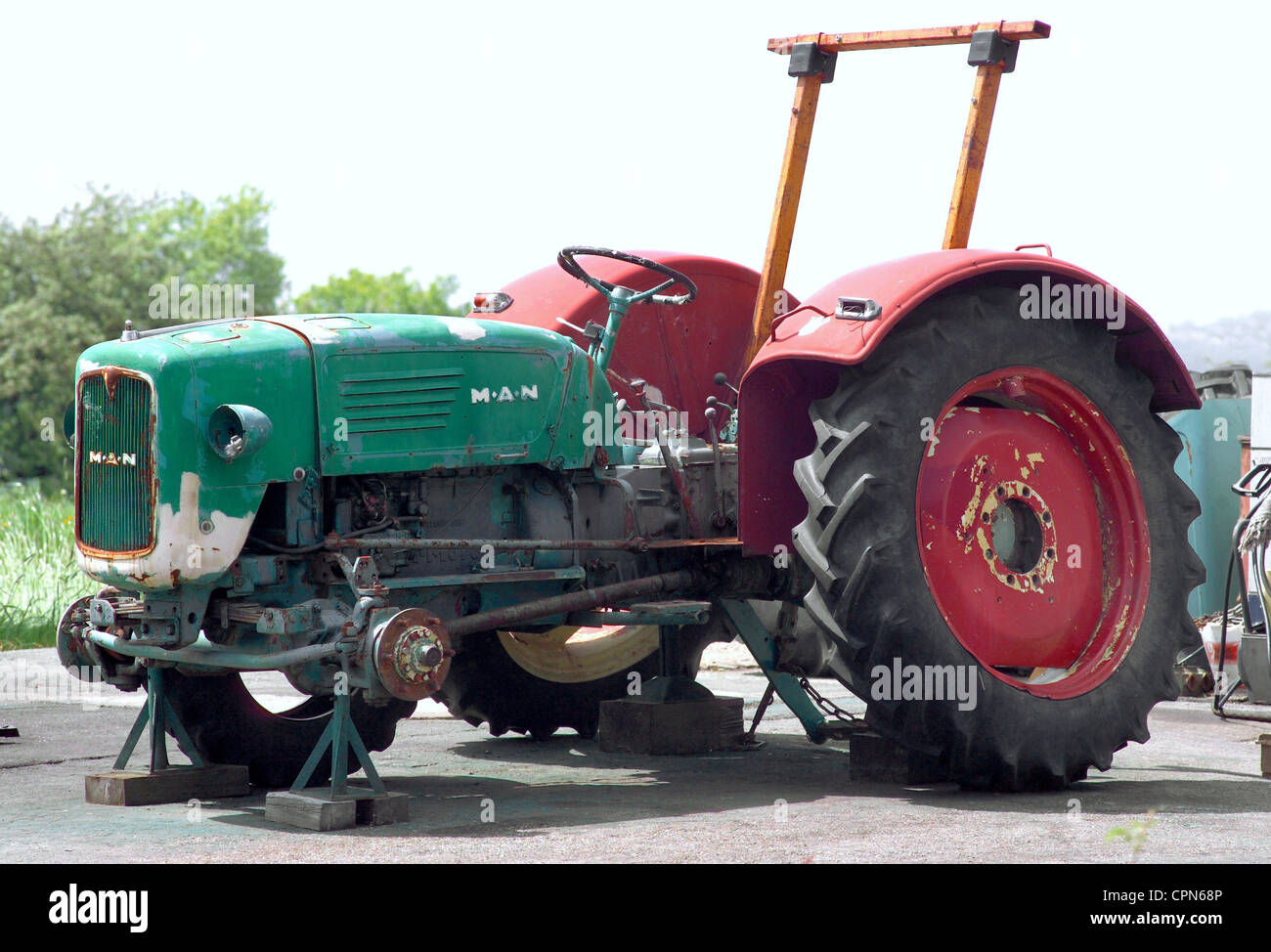 agriculture, machine, MAN tractor from 1962, jack up, symbol image for the descent of the agriculture, Hunding, - Stock Image