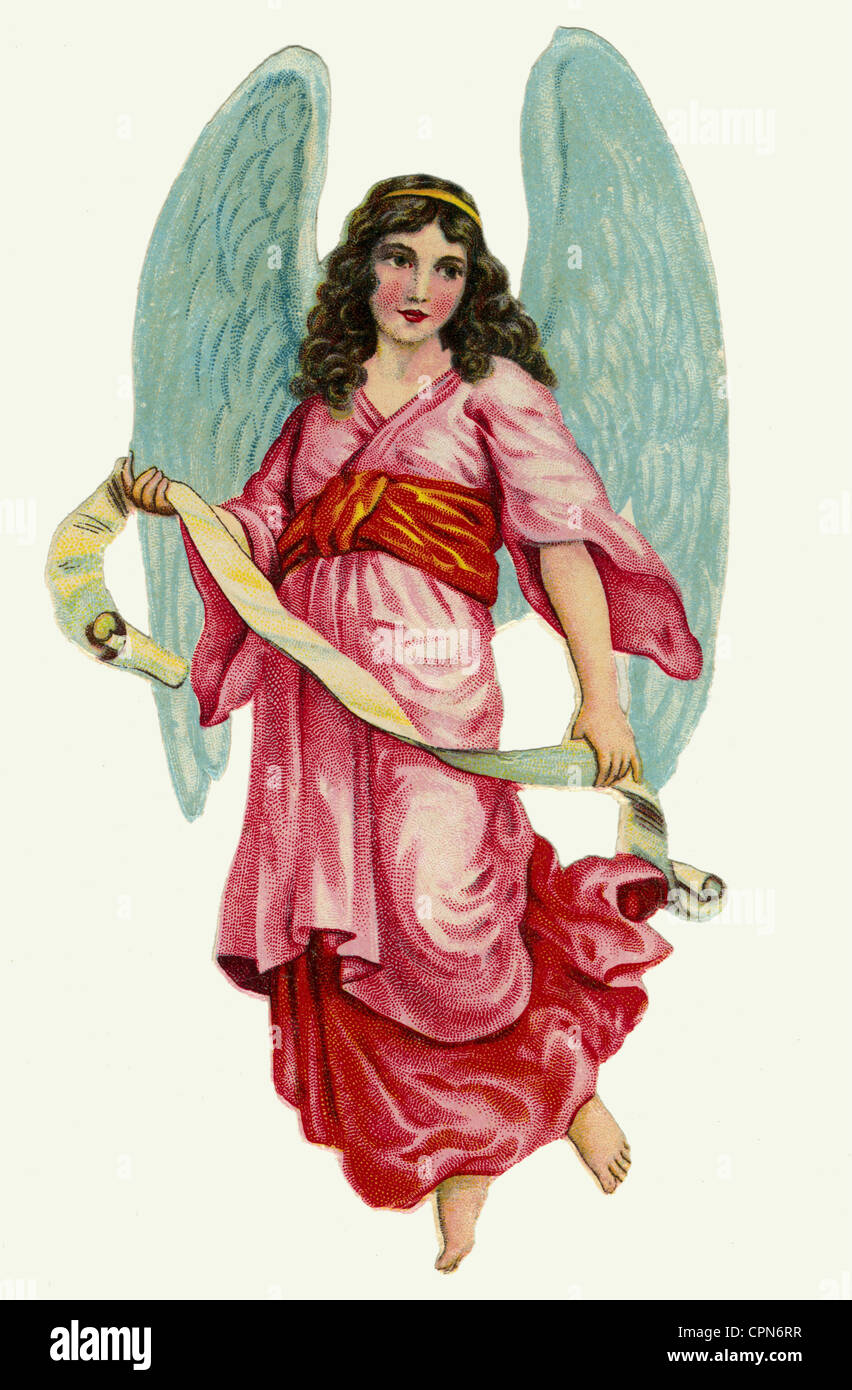 kitsch, angel, scrap-picture, lithograph, Germany, circa 1926, Additional-Rights-Clearences-NA - Stock Image