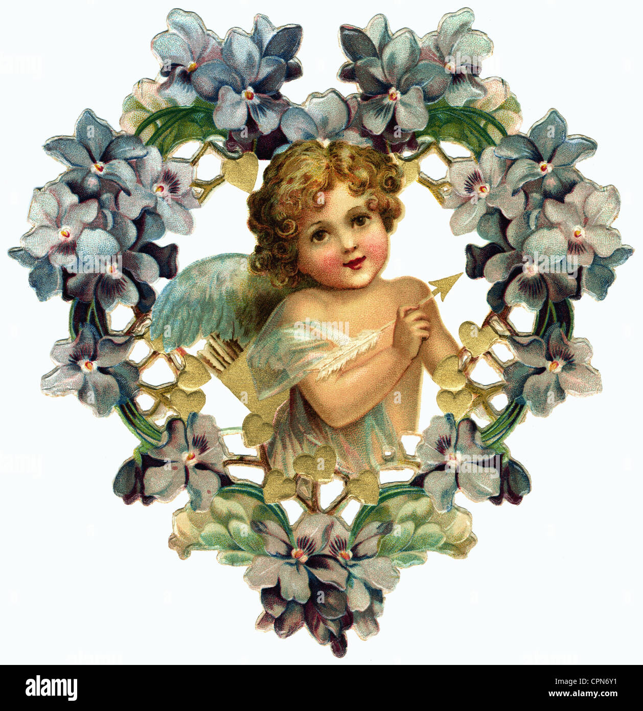 kitsch, angel of love with arrow, scrap-picture, lithograph, Germany, circa 1907, Additional-Rights-Clearences-NA - Stock Image