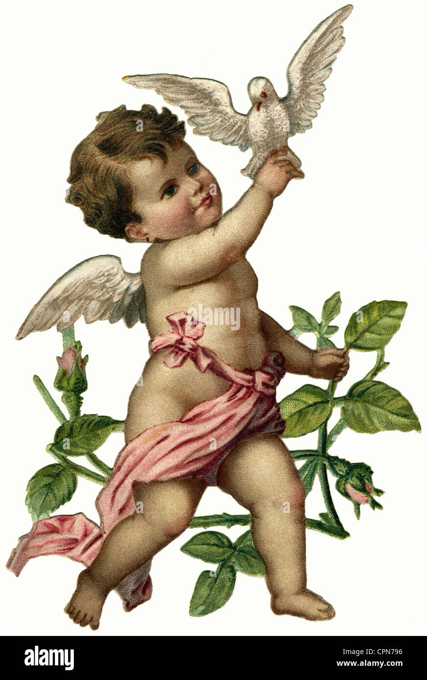 kitsch, little angel with dove, scrap-picture, Germany, circa 1899, Additional-Rights-Clearences-NA - Stock Image