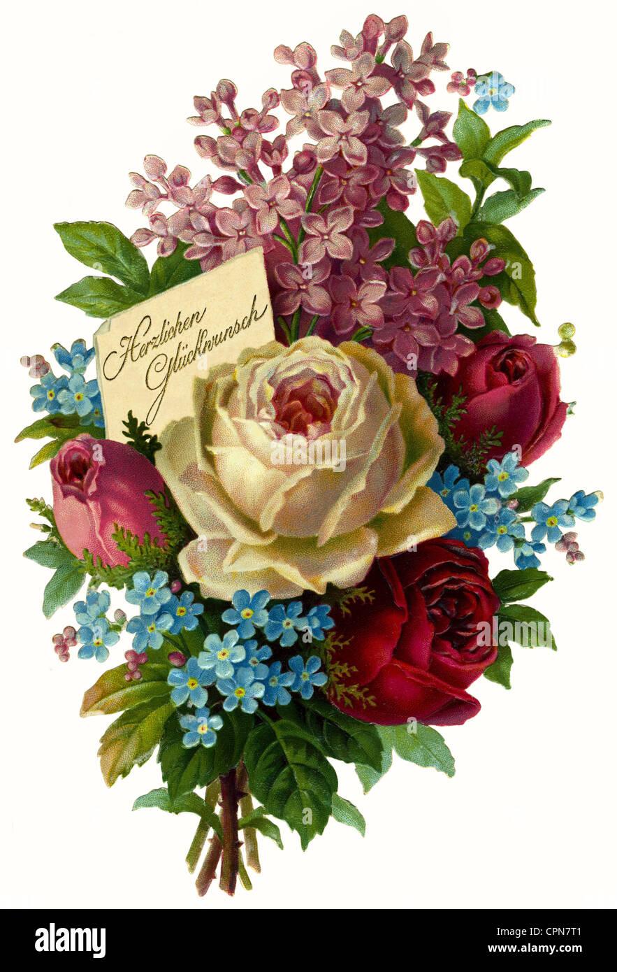 kitsch/cards/souvenir, flower bouquet, 'Herzlichen Glueckwunsch' (Congratulations), scrap-picture, Germany, - Stock Image