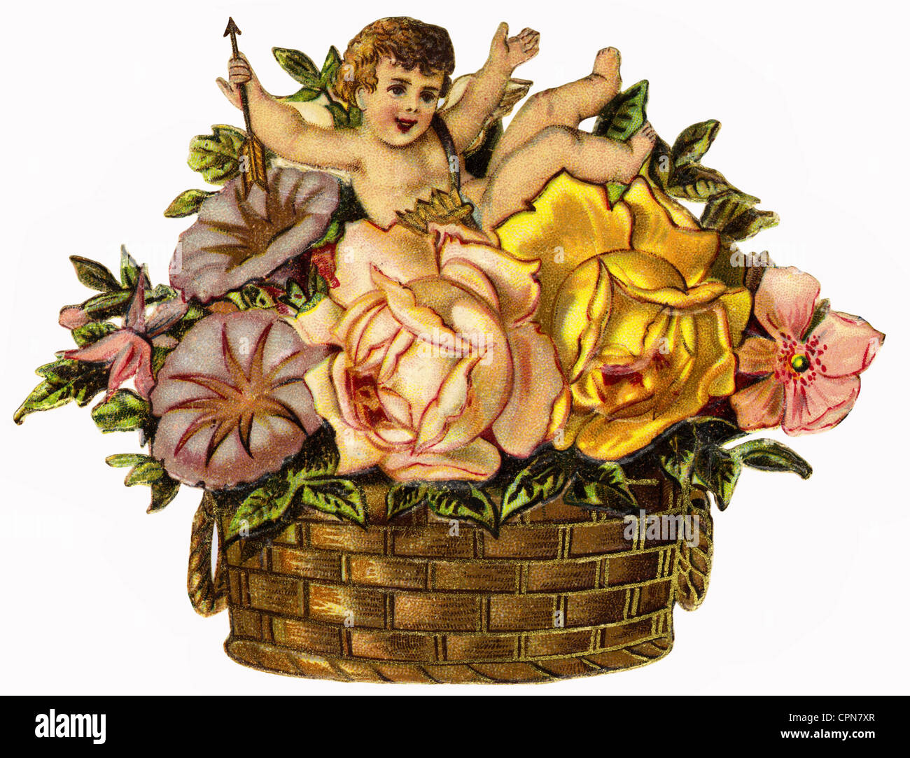 kitsch, flower basket with angel, scrap-picture, Germany, circa 1900, Additional-Rights-Clearences-NA - Stock Image