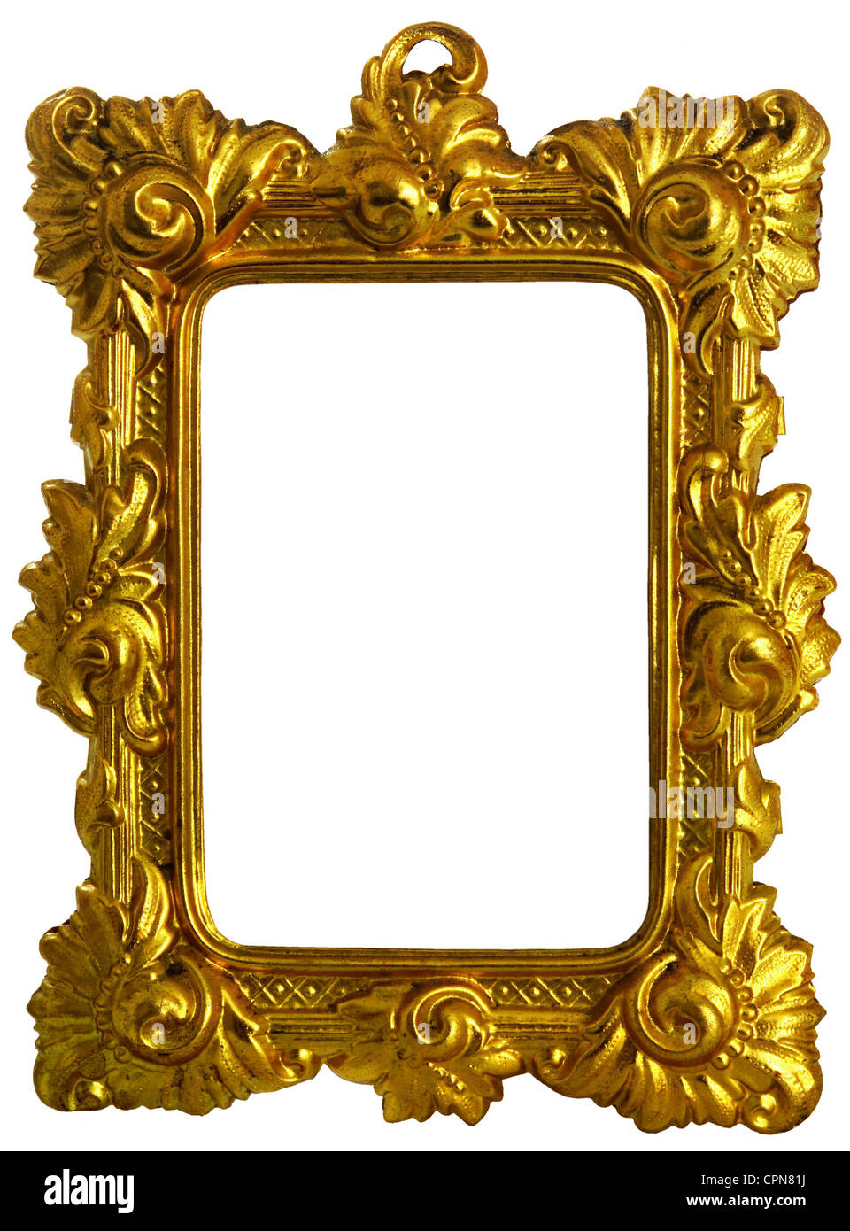 fine arts, picture frame, golden picture frame, wrought brass, gold-plated, Germany, circa 1875, empty, golden, - Stock Image