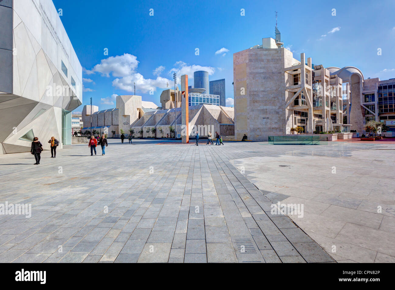 Middle East, Israel, Tel Aviv, exterior of the new Herta and Paul Amir building of the Tel Aviv Museum of Art - Stock Image