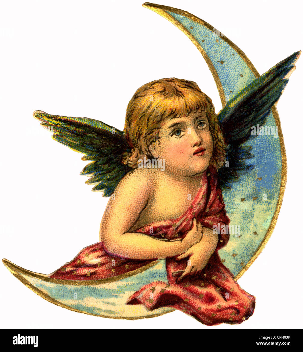 kitsch, angel, little angel with moon, scrap-picture, lithograph, Germany, 1896, Additional-Rights-Clearences-NA - Stock Image